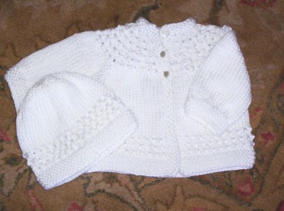 White 5-Hour Sweater and Hat